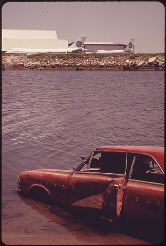 Among the Shoreline Debris at the John F. Kennedy Airport Is This Abandoned Auto 05/1973