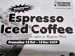 Dunkin' Donuts Espresso Iced Coffee promo