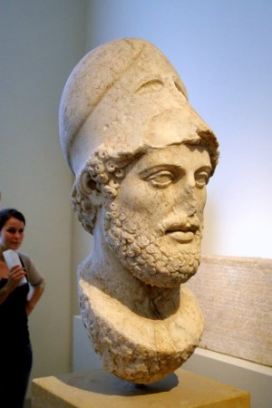 Pericles (Pictured is his bust at the Altes Museum) changed the system to allow more people to participate in the Athenian political system. Image Credit - Neal Tasch.
