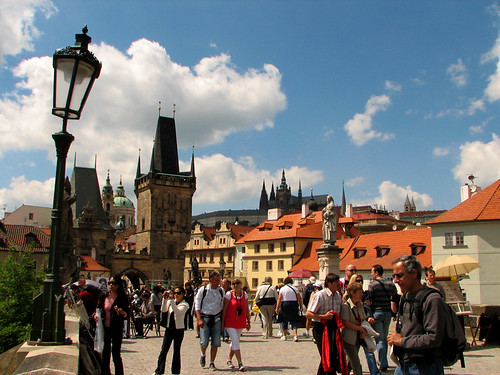 Tourists on Charles Bridge by you.