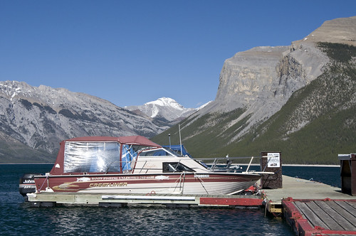 Boats moored on Lake Minnewanka