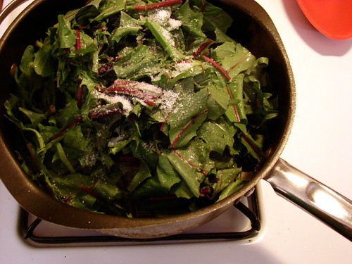 greens, olive oil, salt