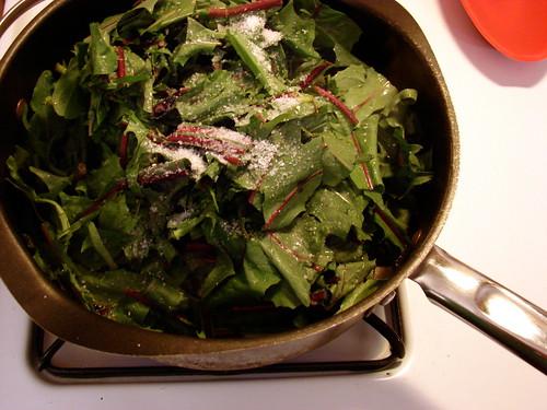 greens, olive oil, salt