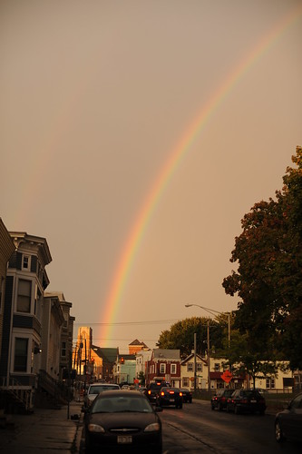 Rainbow above Holy Family Parish.  Photo by Chuck Miller.