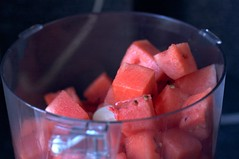 watermelon, read to puree
