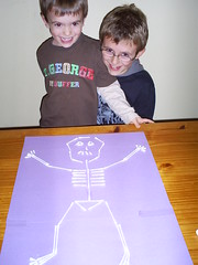 The boys are pleased with their skeleton
