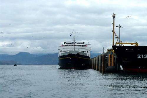 The Tustumena docked in Homer