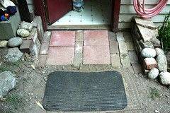 Inexpensive brick and pavers path entry, backd...