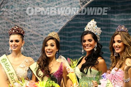 54dc08630da5e (L-R) Alejandra Echevarria of Spain - Miss Fire, Sandra Seifert of the  Philippines - Miss Air, LARISSA RAMOS of Brazil - Miss Earth 2009 and  Jessica Barboza ...