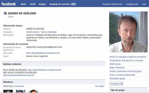 Portada del grupo Diario de diálisis en Facebook