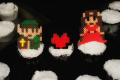 I made our Link and Zelda cupcake toppers from perler beads