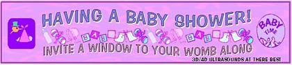 pink banner ad suggesting ultrasounds at baby showers