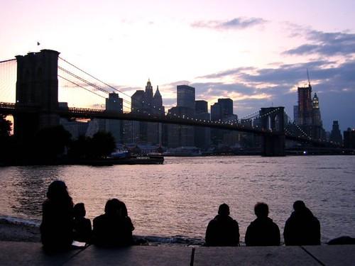 Sunset behind the Brooklyn Bridge, seen from DUMBO.