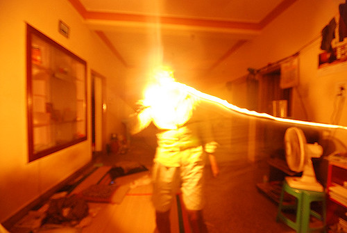 selfie with fire