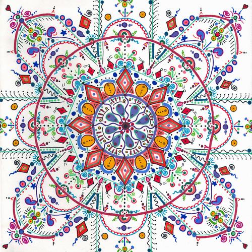whimsy mandala marker on paper (c) 2009, Lynne Medsker
