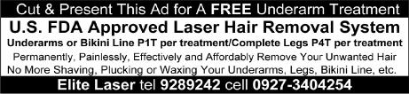Free Elite Laser Hair Removal Service