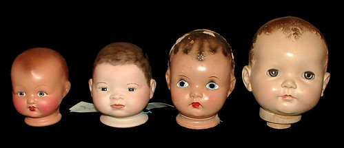 mannequin heads (old doll heads)