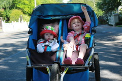 Claire and Juliet enjoying a walk in their double stroller