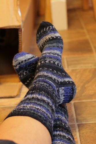 Stripy blue socks for the Consort