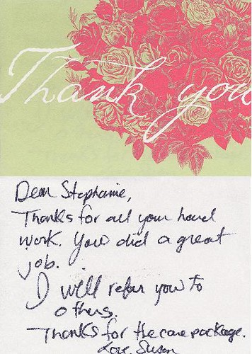 Thank you note from Susan