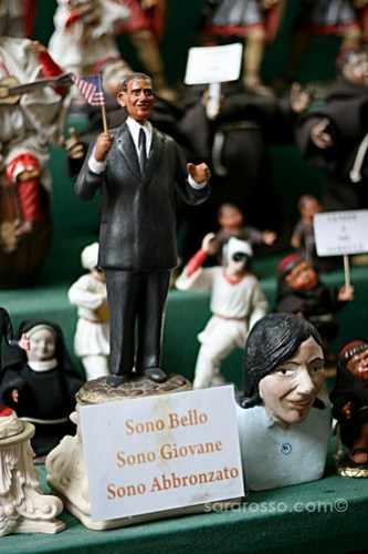 "President Obama Nativity Scene Figure: ""I'm Handsome, Young, Tan"" in Naples, Italy"