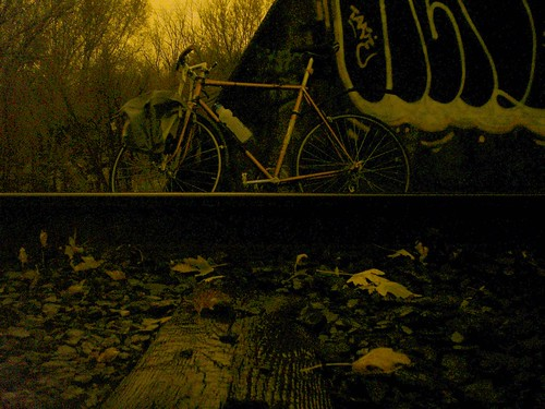 My bike, by the old railroad bridge