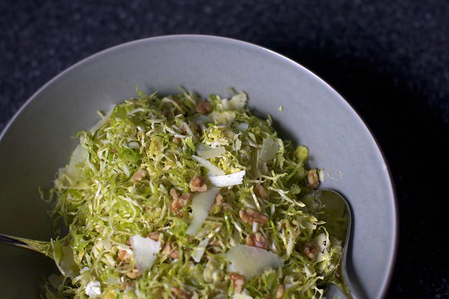 shaved brussels with walnuts and pecorino