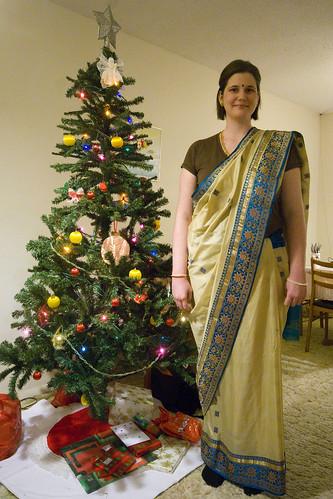 Bengali dress-up Christmas was Tonya's idea...