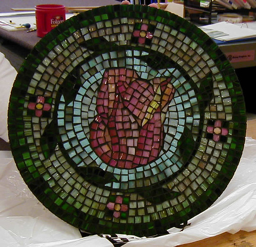 Rose Mosaic Table Top Created by Elizabeth Clark
