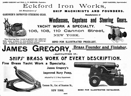 An 1896 ad from American Yacht for Eckford Iron Works on Cannon Street lists James Gregory, Brass Founder and Finisher, as one of the proprietors. Coney Island History Project via flickr