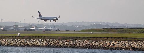 plane landing at logan airport