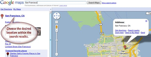 2. Choose desired location within the search results