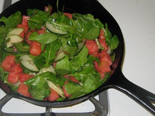 watermelon cucumber and arugula