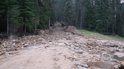SR 20 Debris Flow, looking up slope, of July 29, 2009 (WSDOT Photo)