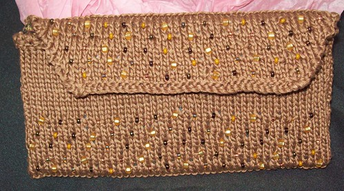 Brown Beaded Clutch