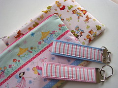 Zipper pouch + matching key fobs