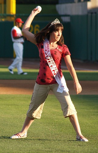 First pitch from the Linden Cherry Festival Queen