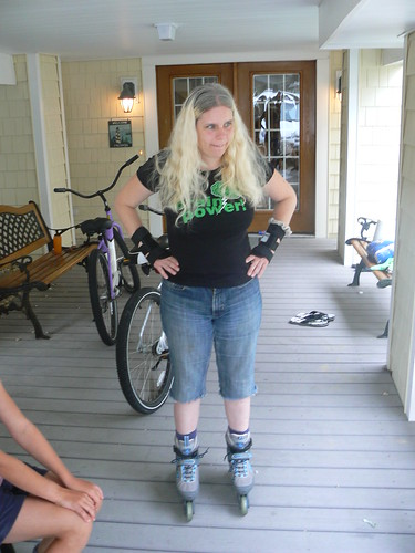 Bethany Beach 2009 - Carolyn Ready to Rollerblade