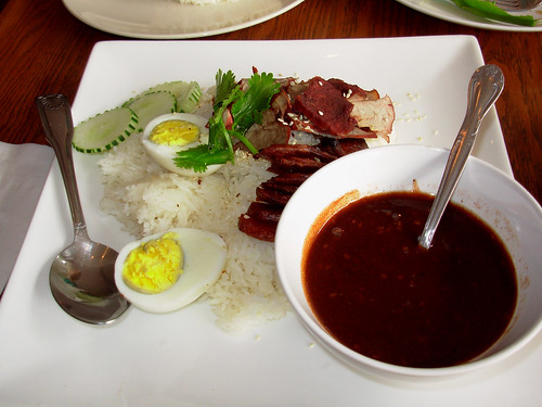 Chinese sausage (lap cheong) and pork with spicy sauce