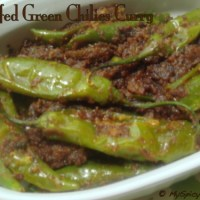 Stuffed Green Chilies Curry ~ Mirapakaya Kura