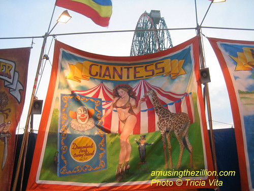 Giantess Banner Painted for John Strongs Sideshow in Dreamland Park, Coney Island.  Photo © Tricia Vita/me-myself-i via flickr