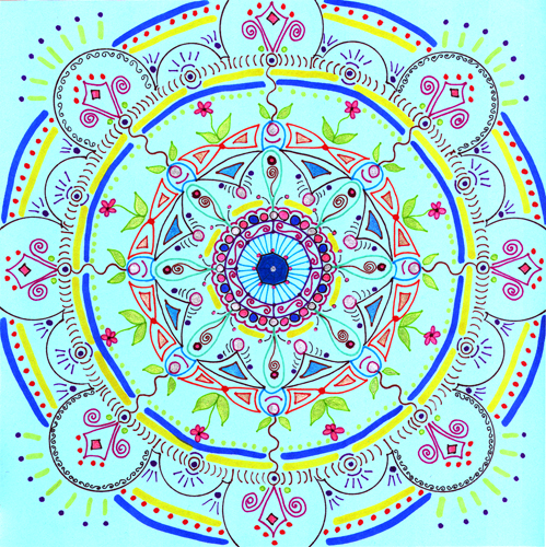 mandala 7 marker & gel ink pen on blue paper (c) 2009, Lynne Medsker