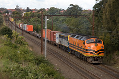 CLF1 and 4477 on T281 Botany to Yennora freight head into Enfield before continuing on to Yennora