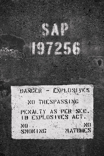 Explosives warning inside one of the bunkers.