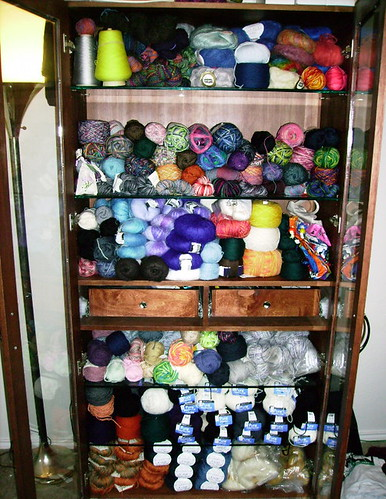 Yarn Cabinet with New Goodies