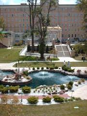 Fountain and garden area of the French Lick Hotel