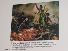 Hot dog history is on the wall at Hot Dougs, did you know that the French Revolution was due to a lack of Hot Dogs?