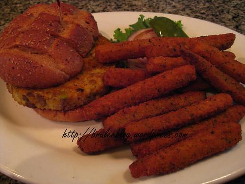 Chefs Veggie Burger and buttermilk zucchini fries