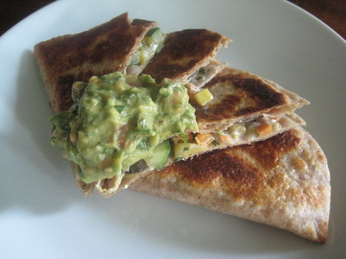 Vegetable Fajita Quesadilla, Guacamole