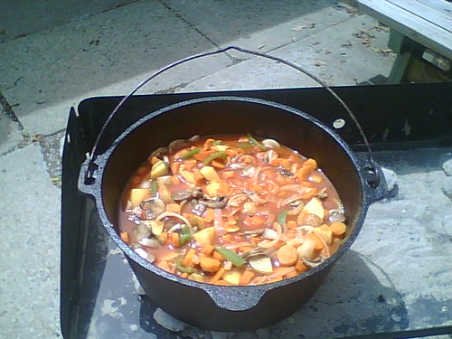 Dutch Oven Itallian Sausage And Vegetables